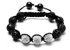 Blanco Black Shamballa Bracelet | White & Black Bangle Bracelet | Unisex Crystal Beaded Bracelet | Onyx Beaded Bracelet (By BAGATI CRYSTO)