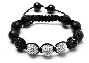 Blanco Black Shamballa Bracelet | White & Black Bangle Bracelet | Unisex Crystal Beaded Bracelet | Onyx Beaded Bracelet (By BAGATI CRYSTO)