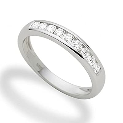 Fabulous 8 Round Diamond Channel Set Half Eternity Ring,9k White Gold