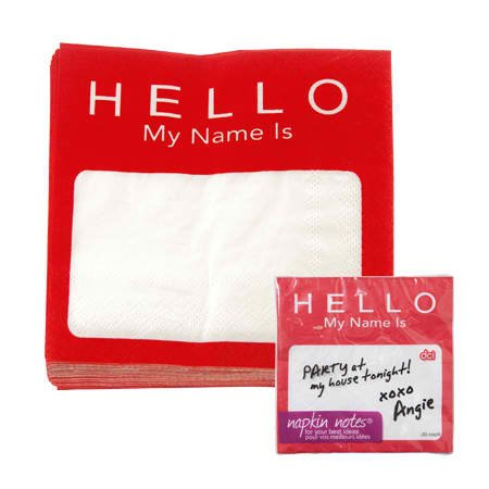 DCI Napkin Notes Dinner Napkins, Name Tag, Pack of 20