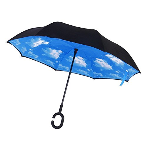 Voyage inverse Parapluie, double couche de protection / UV étanche Inverted Umbrella-Strong / Windproof - Sunny ou Rainy amphibie avec les mains en fo...