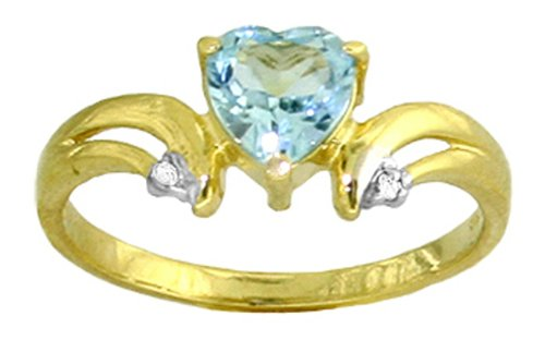 14k Solid Gold Blue Topaz Heart Ring with Diamond Accents - Size 7