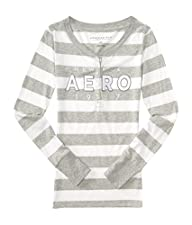 Aeropostale Women's Long Sleeve Striped Aero 1987 Logo Graphic Henley Shirt