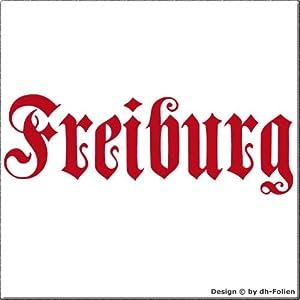 cartattoo4you AK-01584 | FREIBURG - Fraktur / Altdeutsche Schrift | Autoaufkleber Aufkleber FARBE rot , in 23 weiteren Farben erhältlich , glänzend 17 x 5 cm in PREMIUM - Qualität Waschstrassenfest VERSANDKOSTENFREI