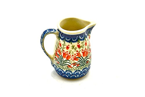 Polish Pottery Miniature Pitcher - Crimson Bells