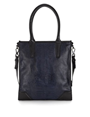 Autograph Leather Faux Snakeskin Design Tote Bag