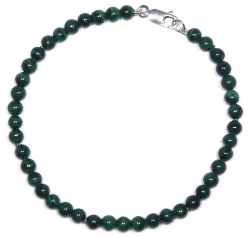Sterling Silver 4mm Malachite Bead Bracelet, 7.5