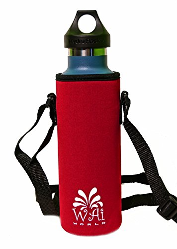 Water Bottle Carrier with Shoulder Strap, Neoprene, Red, 18 oz (Kleen Kanteen Insulates compare prices)
