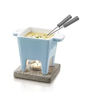 Boska Holland Life Collection Ceramic with Concrete Base Tapas Fondue Set, Blue by Boska Holland