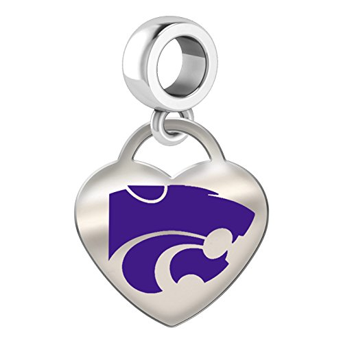 Kansas State Wildcats Sterling Silver Color Heart Dangle