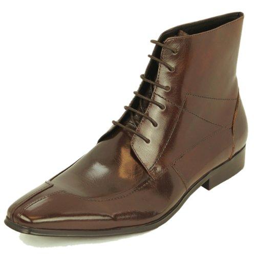 Natazzi Mens Leather Shoe Lace-Up Dress Boot Mod Parma-Boot L-3040 Brown (44 M EU / 11 D(M) US, Coffee Brown)