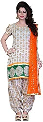 Airboyz Women's Art Silk Unstitched Dress Material (Cream)