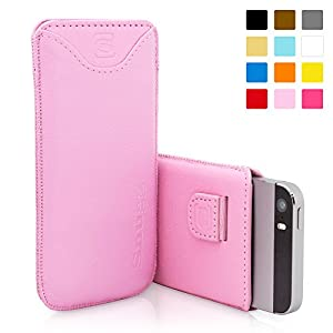 Snugg iPhone 5 / 5S Leather Case in Pink - Pouch with Card Slot, Elastic Pull Strap and Premium Nubuck Fibre Interior for the Apple iPhone 5 / 5S
