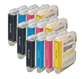 3 Compatible Sets of Brother LC970 / LC1000 Printer Ink Cartridges (12 Inks) - Black / Cyan / Magenta / Yellow for Brother DCP-130C DCP-135C DCP-150C DCP-153C DCP-157C DCP-330C DCP-350C DCP-353C DCP-357C DCP-540CN DCP-560CN DCP-750CN DCP-750CW DCP-770CW