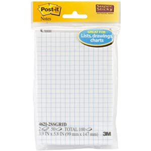 Post-it Super Sticky Notes, 4 in x 6 in, White with Blue Grid, 2 Pads/Pack, 50 Sheets/Pad (4621-2SSGRID)