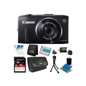 Set A Shopping Price Drop Alert For Canon PowerShot SX280 HS 12.1 MP CMOS Digital Camera with 20x Image Stabilized Zoom 25mm Wide-Angle Lens and 1080p Full-HD Video (Black) Super Bundle- Includes camera, 16 GB SDHC Memory Card, BP-6L Battery Pack, Carrying Case, SD USB Card Reader