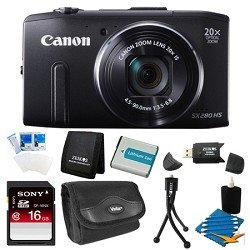 41lyOwAAB6L Canon PowerShot SX280 HS 12.1 MP CMOS Digital Camera with 20x Image Stabilized Zoom 25mm Wide Angle Lens and 1080p Full HD Video (Black) Super Bundle  Includes camera, 16 GB SDHC Memory Card, BP 6L Battery Pack, Carrying Case, SD USB Card Reader