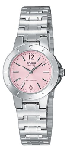 Casio LTP-1177A-4A1EF Ladies Watch Quartz Analogue Pink Dial Silver Steel Strap