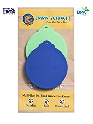 Emma\'s Choice | 2 Pack| Multi-size FDA Approved Food Grade Silicone Can Covers (Green/Blue) | Fits All 3 Sizes USA Pet and People Food Cans