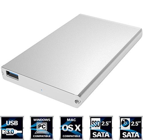 Estuche de aluminio para disco duro externo Sabrent ultra delgado, USB 3.0 de 2,5 pulgadas SATA Color Plata (EC-UM30)
