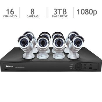 Swann 16 Channel HD NVR Security System with 3TB HDD and 8 3MP HD IP Cameras