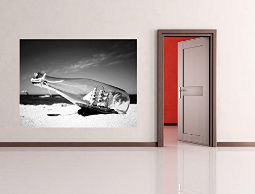 Bilderdepot24-selbstklebende-Fototapete-Buddelschiff-Schiff-in-der-Flasche-schwarz-weiss-130x100-cm-direkt-vom-Hersteller