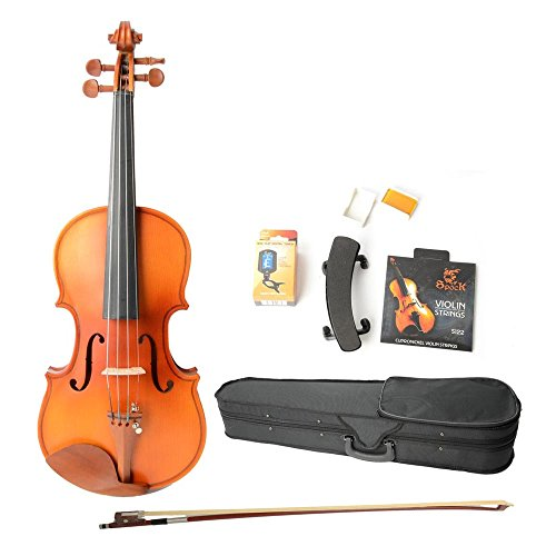 Crazy K&A 1/2 Matte Acoustic Spruce Wood Violin With Case,Electronic Tuner,Shoulder Rest Bow, Rosin, Bridge And Strings
