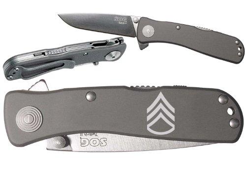 Military Sergeant Staff Custom Engraved Sog Twitch Ii Twi-8 Assisted Folding Pocket Knife By Ndz Performance