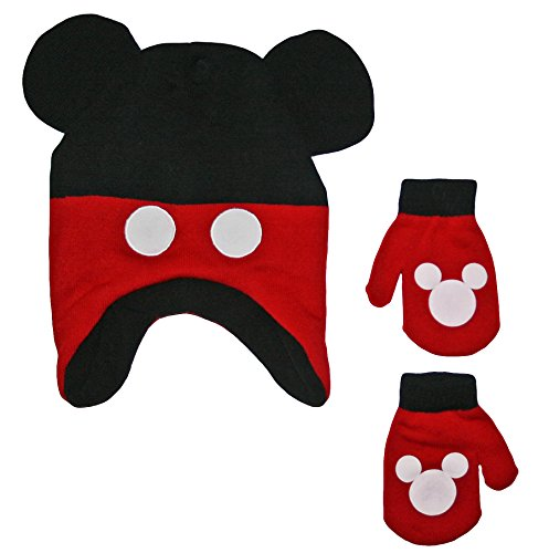 Disney Mickey Mouse Baby Toddler Boys Winter Hat & Mitten Set
