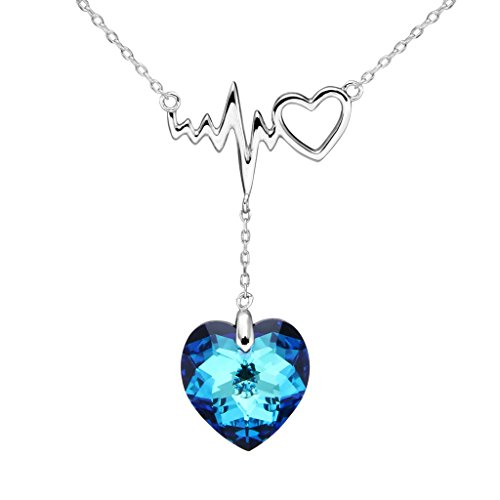 EleQueen argento 925 penzoloni Amore Cuore di Ocean Lightning Bolt sospensione nuziali della collana Bermuda blu decorata con cristalli Swarovski?