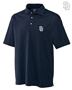San Diego Padres Mens DryTec Medina Tonal Stripe Polo Shirt Navy Blue by Cutter & Buck