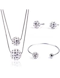 YouBella Jewellery Valentine Collection Crsytal Combo Of Pendant Necklace Set, Bangle Bracelet And Fancy Party...