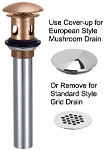 Danze D495082BN Metal Grid Strainer without Overflow with Cover, 1 ½ -Inch Drain and 1 ¼-Inch Tailpiece,  Brushed Nickel