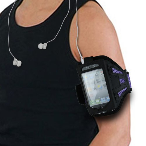 Black/Purple Running Sport Gym Workout Armband Cover Case For Iphone 3 / Iphone 3G / Iphone 4 / Iphone 4S / Apple Ipod Touch4S