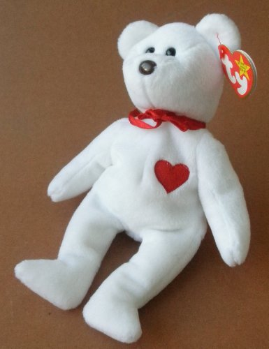 White Bear Plush Toy Stuffed Animal with Red Heart - 1