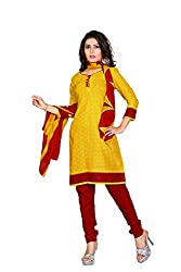 PollyCotton Unstich Dress Material (PV299-1004_Yellow Co...