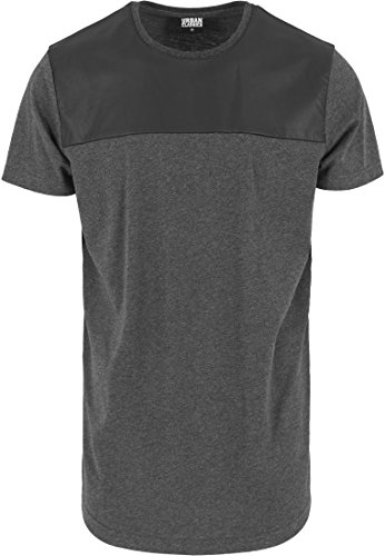 Urban Classics - T-Shirt Shaped Shoulder Leather Imitation Tee, Maglia a maniche lunghe Uomo, Multicolore (Charcoal/Schwarz), X-Large (Taglia Produttore: X-Large)