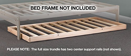 Roll-away Trundle Frame - Solid Hardwood (Twin) (Wood Trundle Bed compare prices)
