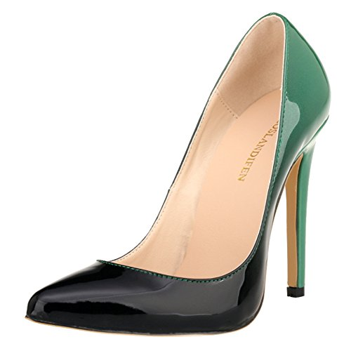 LOSLANDIFEN Women's Pionted Toe Double Color Pumps Slender Leather Stiletto High Heels Wedding Shoes(302-1shuangse42,Green)