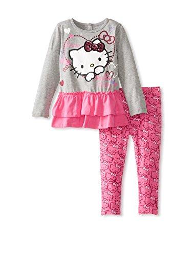 Hello Kitty Little Girls' Sugar Glitter Peplum Set, Heather Gray, 4T front-752223