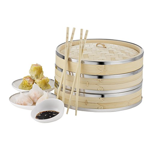 VonShef-10-Inch-2-Tier-Premium-Bamboo-Steamer-with-Stainless-Steel-Banding-includes-2-Pairs-of-Chopsticks-50-Wax-Steamer-Liners