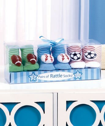 3-pk. Sports Rattle Socks in a Box