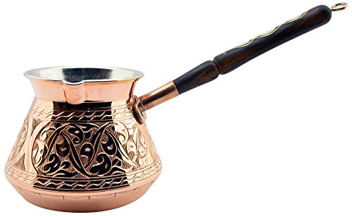 Thickest Premier Engraved Solid Copper Turkish Greek Arabic Coffee Pot Stovetop Coffee Maker Cezve Ibrik Briki with Wooden Handle, Thick 1,5 mm (Medium - 8 Oz) (Character Coffee Pot compare prices)