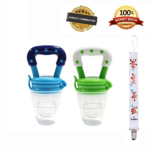 Tinabless Baby Food Feeder, Fresh Fruit Feeder Teething Toy Nibbler Teether Pacifier for Baby with Clip M (2Pcs)
