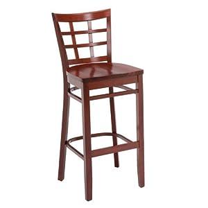 All Wood Cafe Stool with Lattice Backrest Walnut Finish
