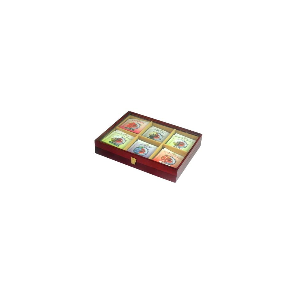 Nation Wood Tea Box with Window, 6 Flavors, 36 Count Foil Envelopes