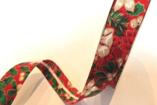 Red Holly Berry Christmas, 100% cotone per sbieco, 18 mm, a forma di lampadario, rotolo da 25 m
