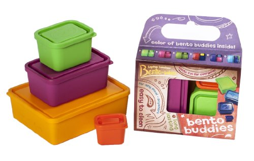Laptop Lunches Bento-Ware Garden Buddies Lunchbox Containers With Leak-Proof Lids, Lime/Yellow/Orange/Magenta - Set Of 4