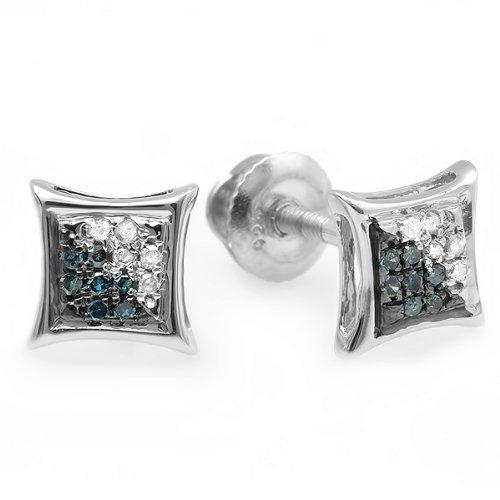 0.10 Carat (ctw) Sterling Silver Blue & White Round Diamond Micro Pave Setting Kite Shape Stud Earrings