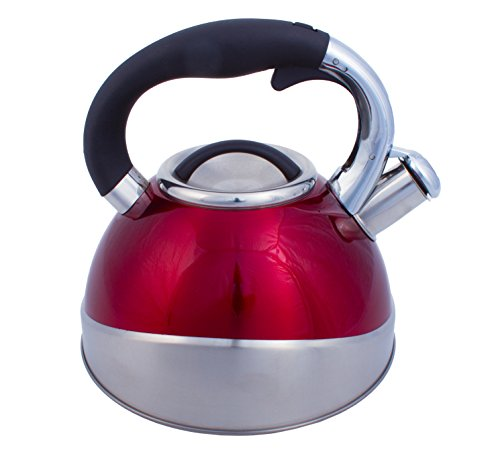 High Quality Stainless Steel Tea Kettle - 2.8 L Stove Top Whistling Kettle (Red)